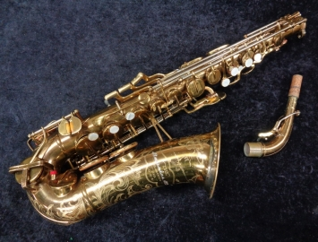 Beautiful Original Lacquer Buescher 400 Top Hat and Cane Alto Sax, Serial Number 296198