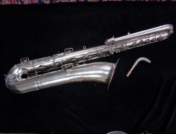 Vintage Silver Plate Conn Bass Saxophone - Recently Restored, Serial #37238