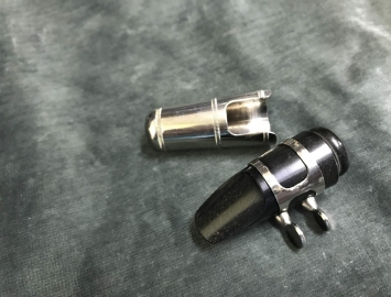 Vintage Hard Rubber Blank Mouthpiece, Ligature & Cap for Sopranino Saxophone