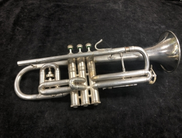 Vintage C.G. Conn Art Deco Satin Silver Cornet With Opera Tuner, Serial #360047
