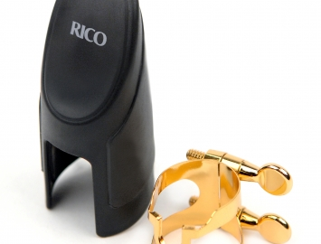 Gold Plated Rico H Ligature & Cap Set for Bb Soprano Sax