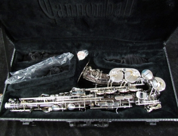 Cannonball Big Bell Stone Series Alto Sax in Black Nickel and Silver Keys, Serial #157574